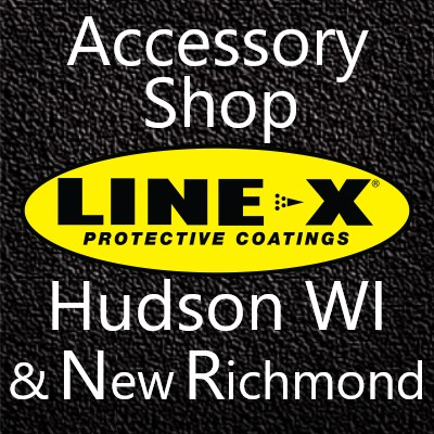 LINE-X Hudson WI New Richmond Accessory Shop Truck Logo